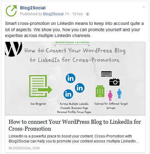 Facebook link-post with an automatically generated link preview