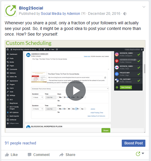 Facebook video-post with an individual comment