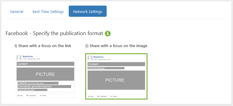Blog2Social Settings: Select to post focussing on the link or the image