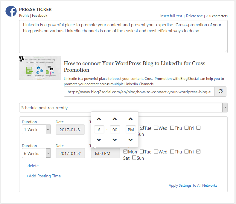 Blog2Social one-page workflow with individual customization options