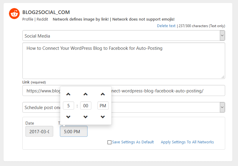 Change the time of your scheduling in the Blog2Social one-page overview