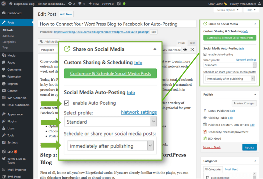 Auto-posting immediately with Blog2Social