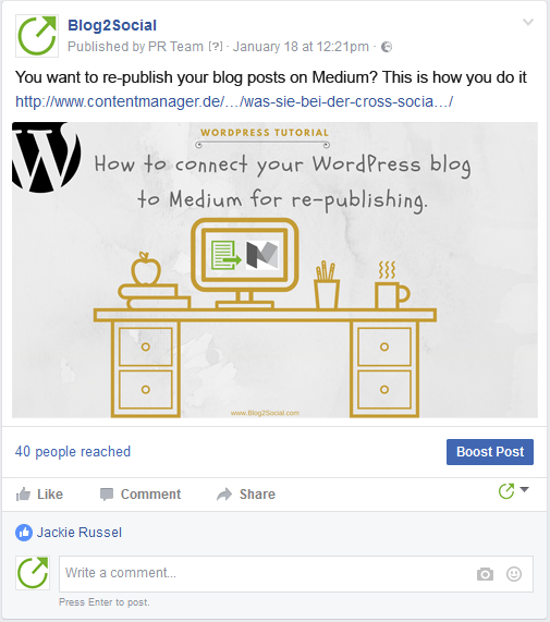 Facebook image posts published with Blog2Social