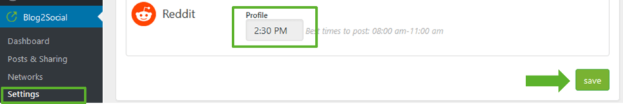 Set your own unique best times for Reddit in the Blog2Social Setting