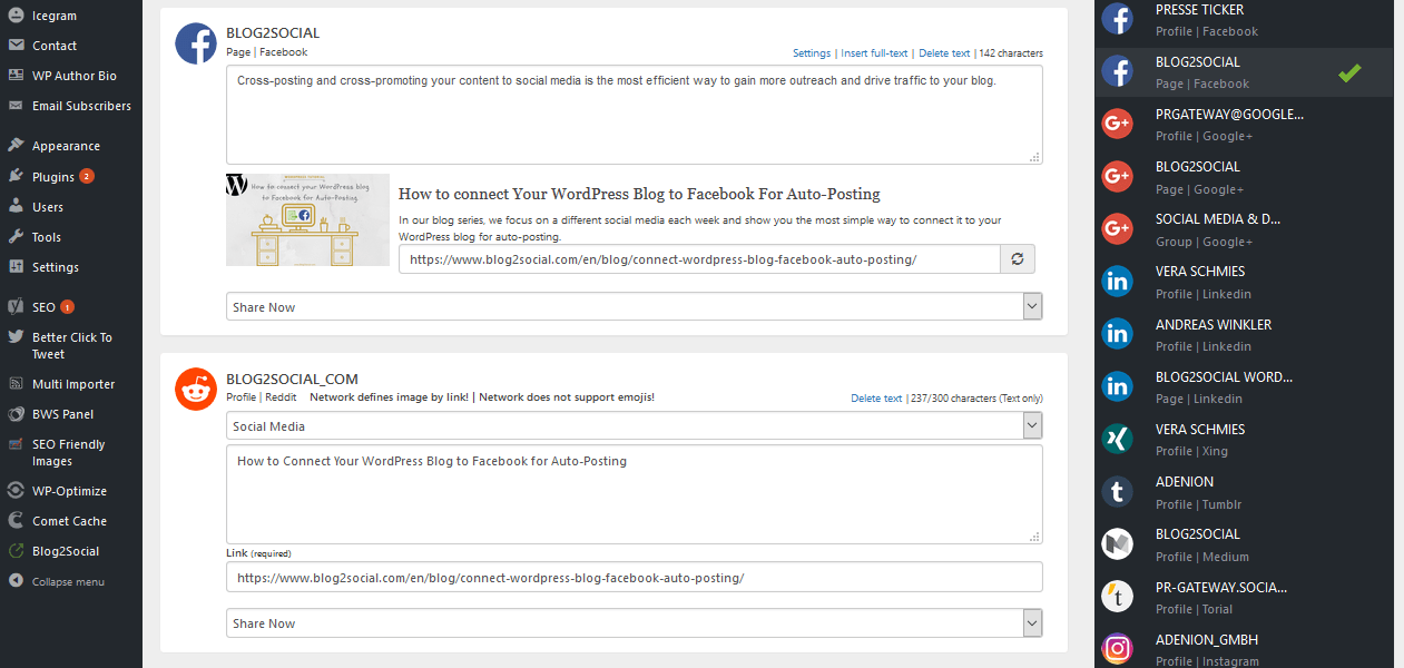 Blog2Social one-page overview: Add a custom comment to specifically address your subreddit