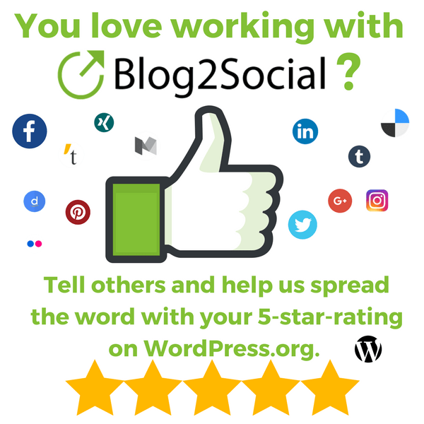 Tell others an help us spread the word with your 5-star-rating on wordpress.org