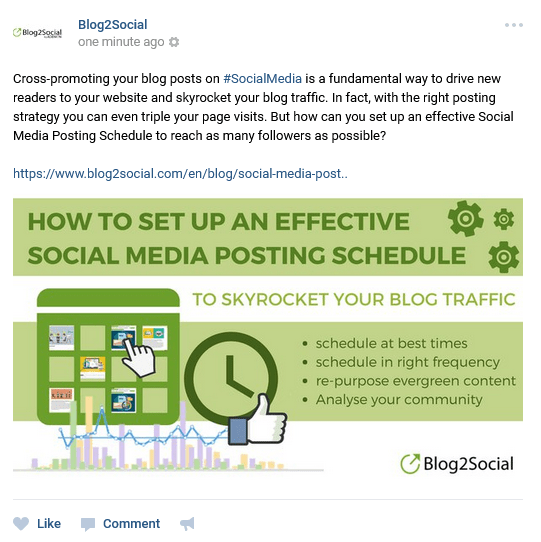 Blog2Social - Schedule post to social media like Facebook