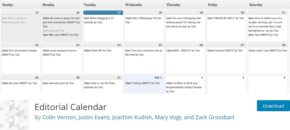 Wordpress plugin Editorial Calendar - organize and schedule your blog content