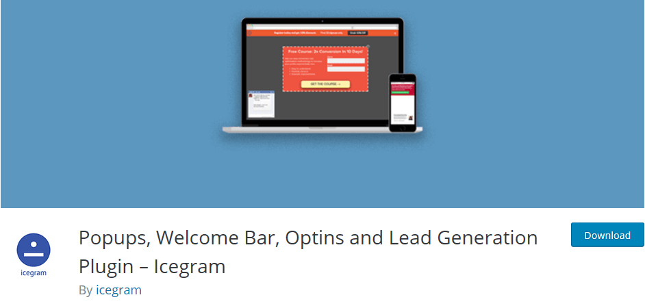Wordpress plugin Icegram: create popups, a welcome bar and other optins for lead generation