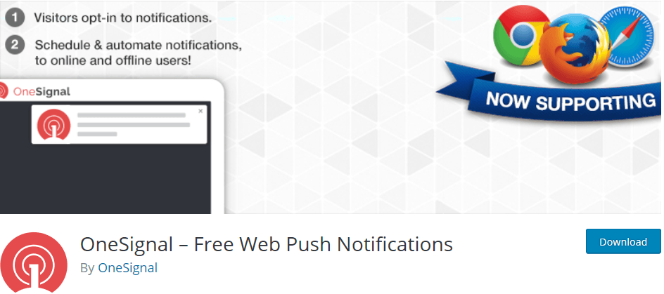 Wordpress plugin One Signal: send push notifications to your website visitors whenever you publish a new post