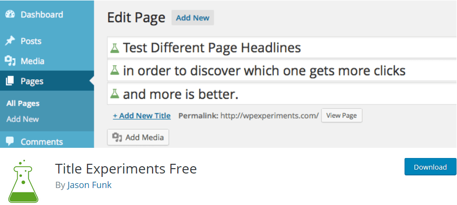 Wordpress plugin title-experiments-free: create catchy title for your blog posts