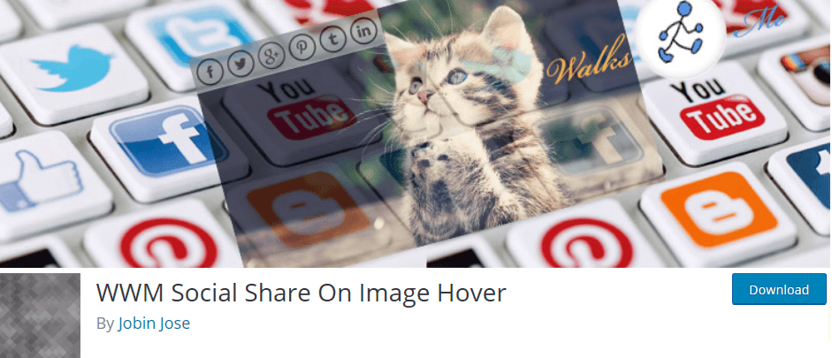 Wordpress plugin WWM Social Share On Image Hover: make it easy for your visitors to share your images