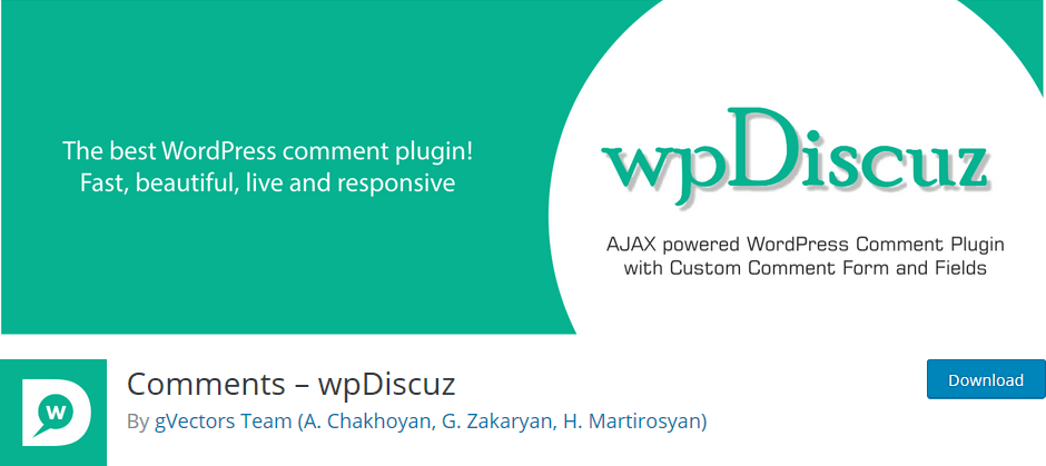 Wordpress Plugin Comments WP Discuz encourages your readers to comment on your posts.