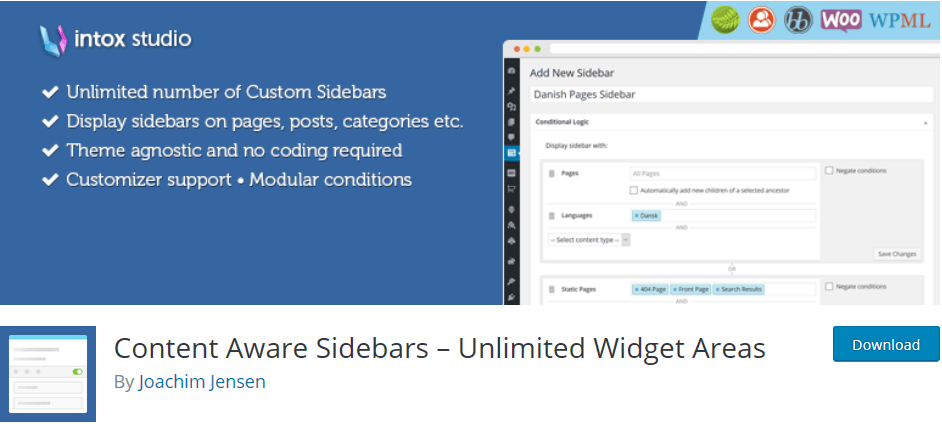 WordPress plugin Content Aware Sidebars: display sticky content on different conditions and in different contexts on your sidebar.