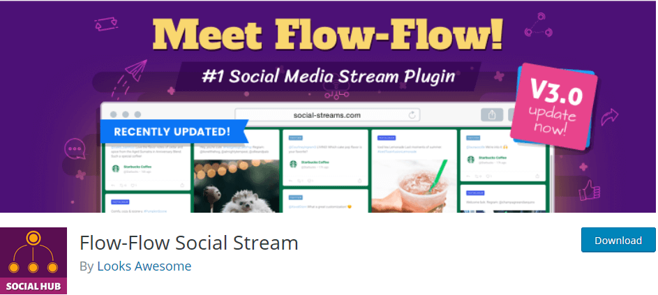 WordPress plugin Flow Flow Social Streams displays your social media updates on your site.