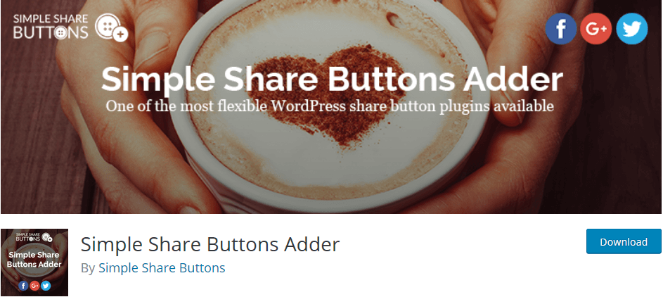The WordPress plugin Simple Share Buttons Adder für mehr Followers auf Deinen Social Media Kanälen