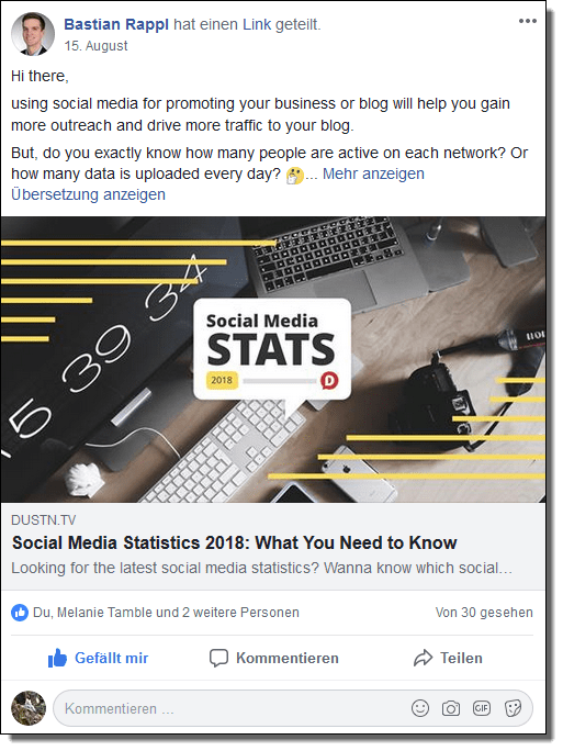 An example from our Facebook group Blog2Social: Blogging and Social Media: In this group, we share posts about blogging and social media from a variety of internal and external sources.