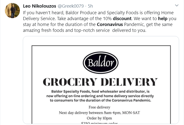 Baldor is offering discount and free delivery to help custimers stay at home