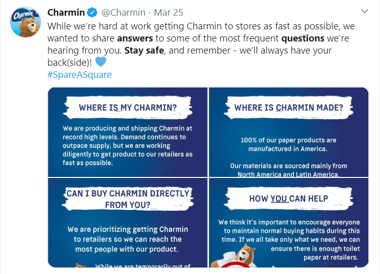 Charmin answers questions from customers