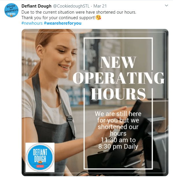 Defiant Dough announces new operating hours