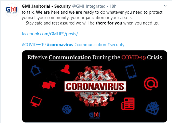 GMI Janitorial Security provides important information on coronavirus for customers