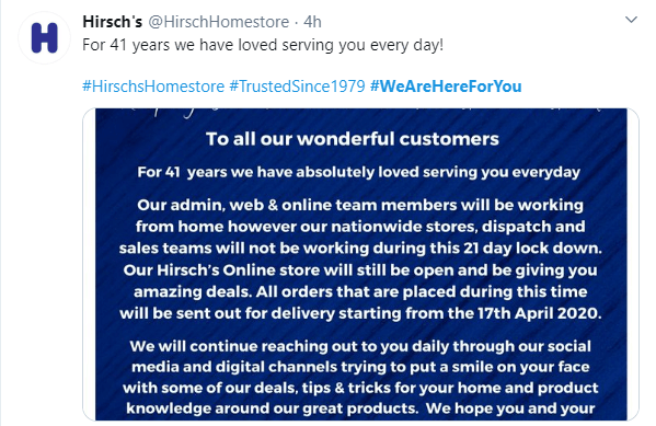 Hirsch informs about online-service still operating for customers