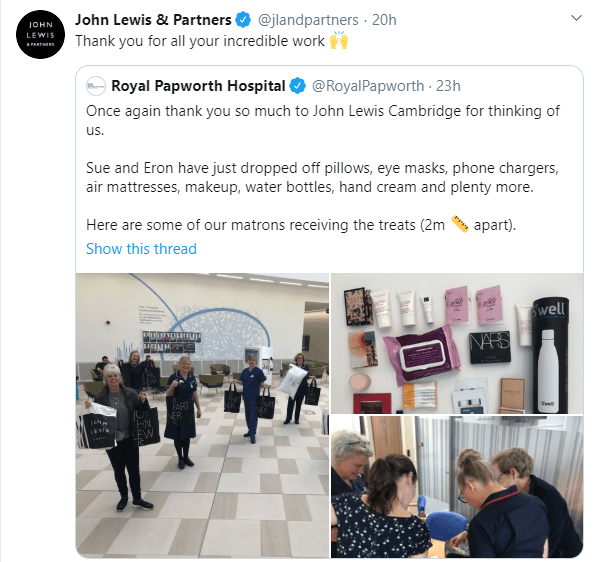 John Lewis and Partners donate necessities to a local hospital