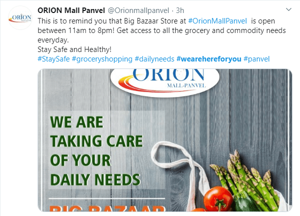 Orion Mall Panvel informs about changes of opening hours