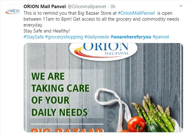 Orion Mall Panvel informe sur les changements d'horaires