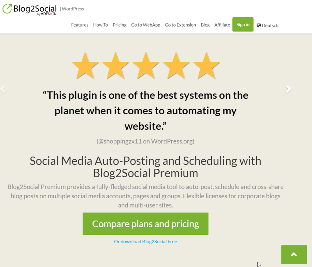Reviews on Blog2Social Front Page