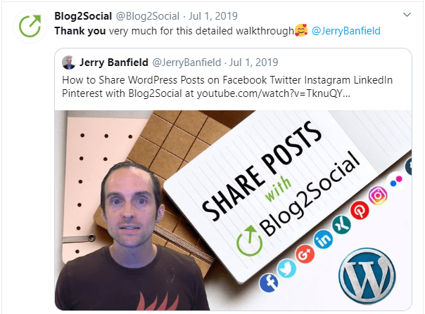 Thank you on Twitter for a positive review video by Jerry Banfield