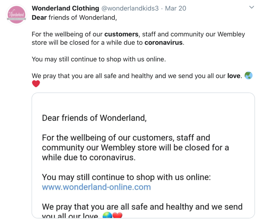 Wonderland clothing informs customers about alternative online shopping