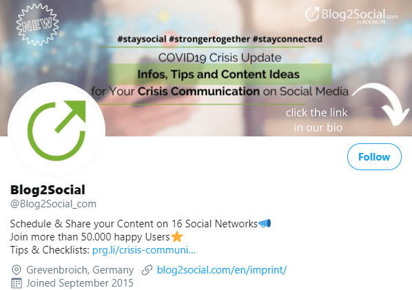 coronavirus update in Twitter header Blog2Social
