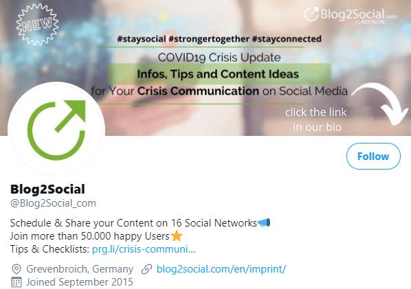 coronavirus update in Twitter header Blog2Social