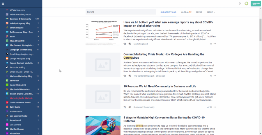 Innoreader for monitoring newsfeeds