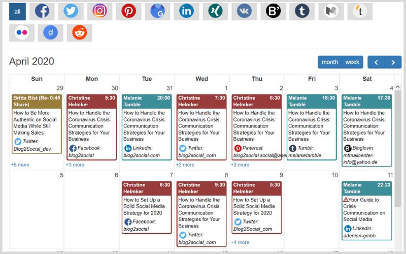 social media calendar by Blog2Socialblog2social