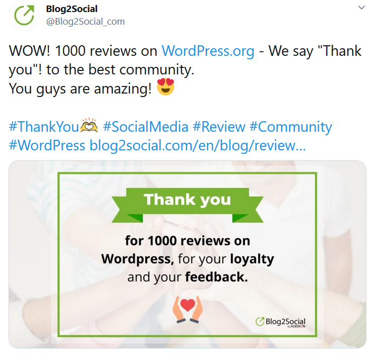 thank your customers in the social media to encourage positive reviews