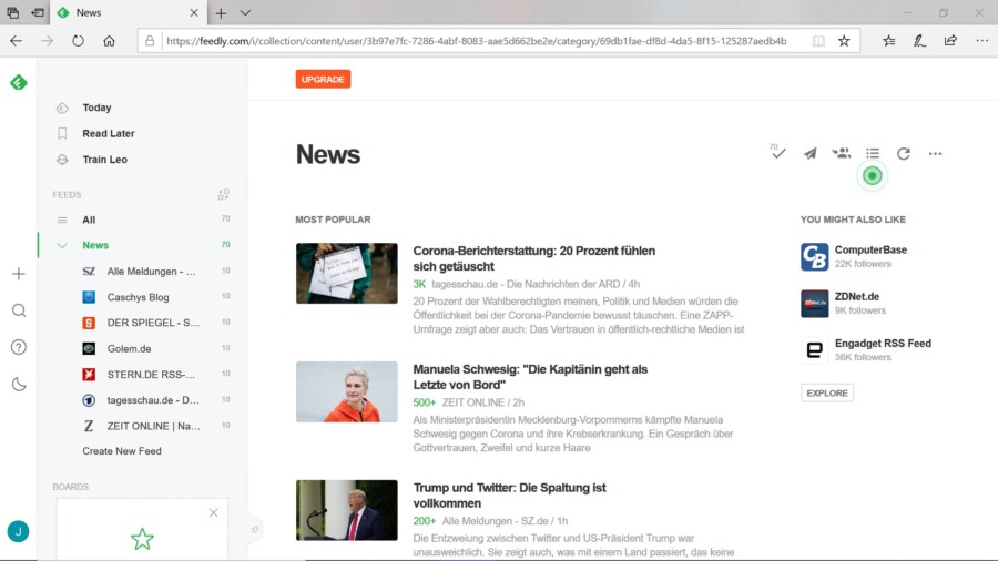 This is what an RSS feed look like in the RSS reader feedly.