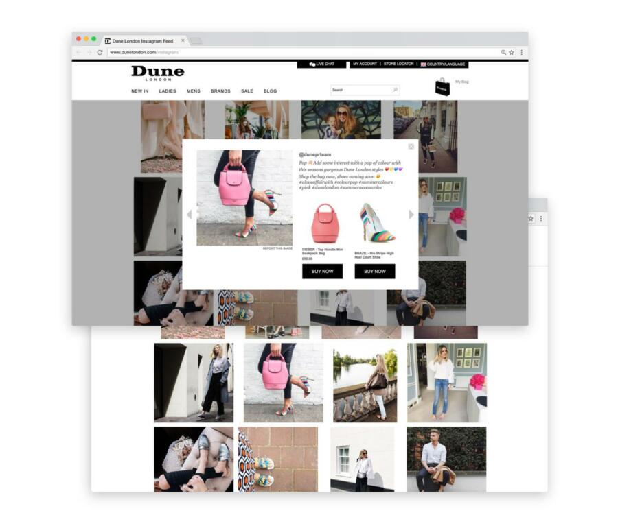 Dune London shows authentic pictures of their products online and places links to their online shop