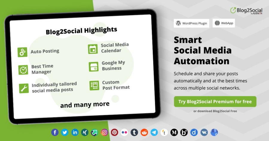 Smart Social Media Automation with Blog2Social