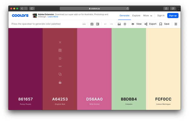 Coolors is a great tool to help you make your blog more professional. Create a matching color scheme with ease