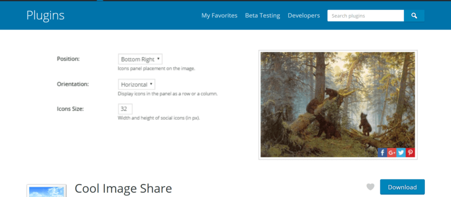 Cool Image Share WordPress plugin