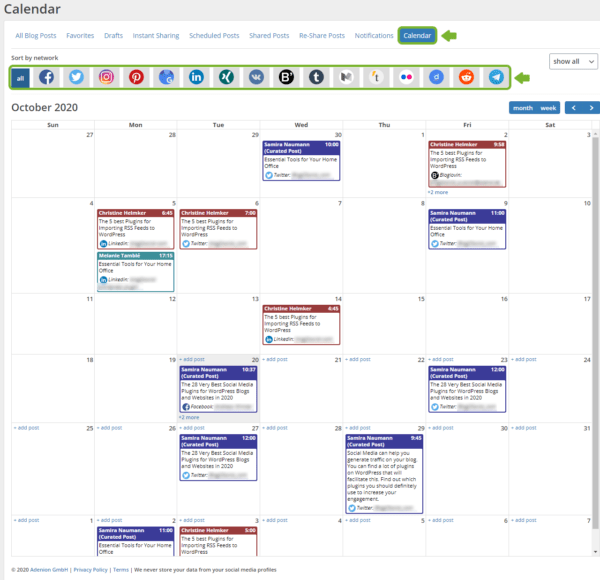 Blog2Social Post Calendar