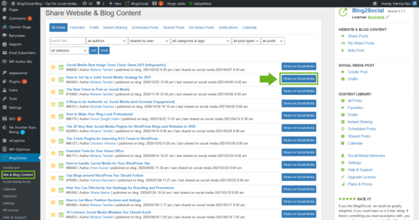 Blog2Social tab Site and Blog Content