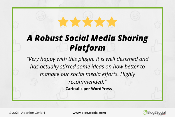 Very happy with the Blog2social plugin. It is well designed and has actually stirred some ideas on how to etter manage our social media. Highly recommended.