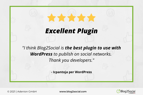 excellent plugin. Blog2Social is the best plugin to use with WordPress to publish on social networks. Thank you developers.