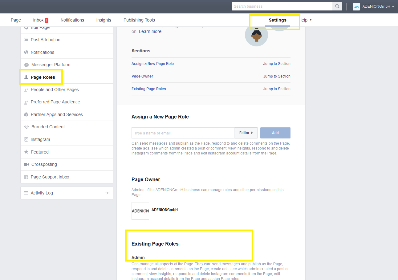 Blog2social schedule post to social media like facebook auto inside the business manager you can find the button settings in the left navigationbar you find page roles the page roles show you all fan page ccuart Gallery