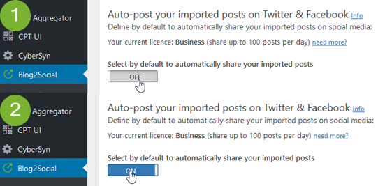 Activate the option to auto post your imported articles to Facebook and Twitter by default