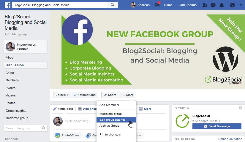 facebook group settings 1 Como agregar autopublicador en tu grupo de facebook