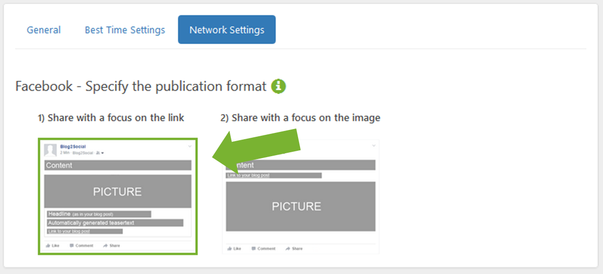Select the Facebook link post or the Facebook image post for auto posting to Facebook profiles, pages and groups